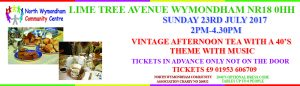 Vintage Afternoon Tea with a 40s Theme with Music @ North Wymondham Community Hall |  |  |